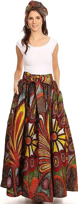 Traditional Wax Print Adjustable Strap Maxi Skirt