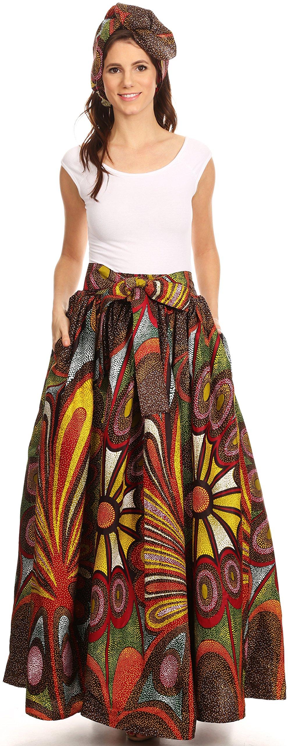 Sakkas 16317 - Asma Convertible Traditional Wax Print Adjustable Strap Maxi Skirt | Dress - 501-Multi - OS