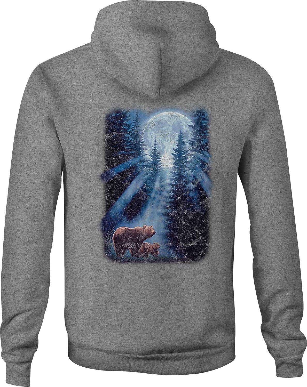 Zip Up Hoodie Bear Woods Moonlight Hooded Sweatshirt for Men