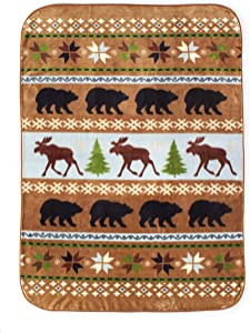 Shavel Home Products High Pile Throw, 60 x 80 Inch, Wilderness Stripe