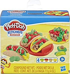 Play-Doh Kitchen Creations Taco Time Play Food Set for Kids 3 Years and Up with 4 Non-Toxic Colors