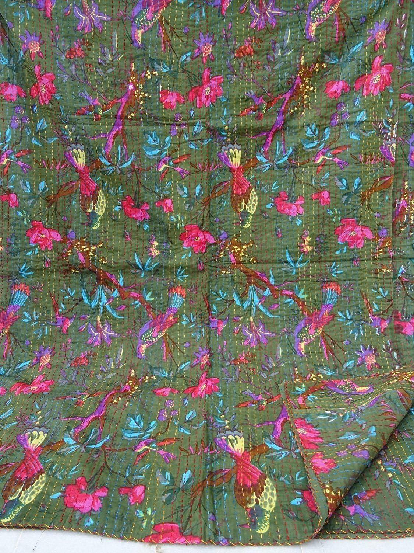 Jumeau Kiara Indien Vintage Ethnique Coton Bird Kantha Couvre-lit Couvre-lit Patchwork Point de Couverture Twin//Queen Size Coton Barbie Pink