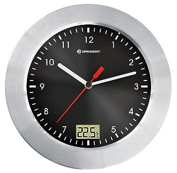 Bresser MyTime - Reloj de pared analógico para cuarto de baño con indicador de temperatura,