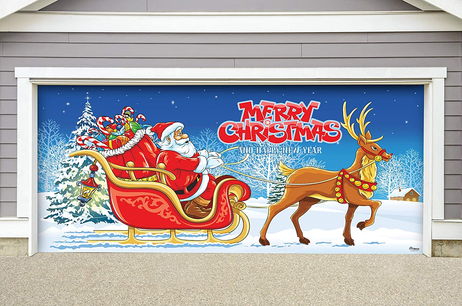 Amazon Com Victory Corps Outdoor Christmas Holiday Garage Door Banner Cover Mural Décoration 7 X16 Santa S Sleigh Ride Outdoor Christmas Holiday Garage Door Banner Décor Sign 7 X16 Home Kitchen