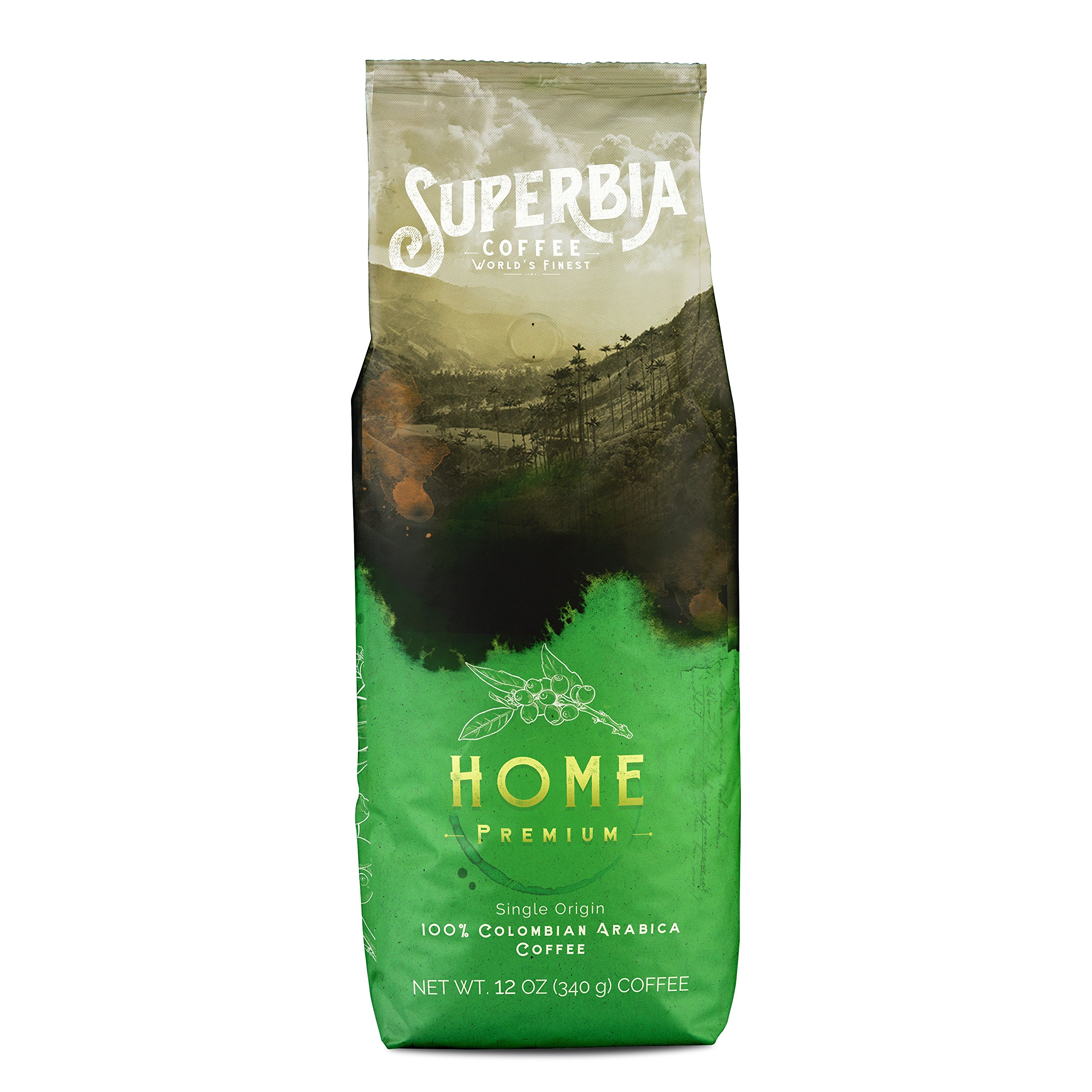 Superbia Coffee Home Premium 12Oz, 100% Colombian Coffee, Single Origin, Ground, Medium Roast, Amazing Flavor, Traceable to the farm, Superior Specialty Coffee