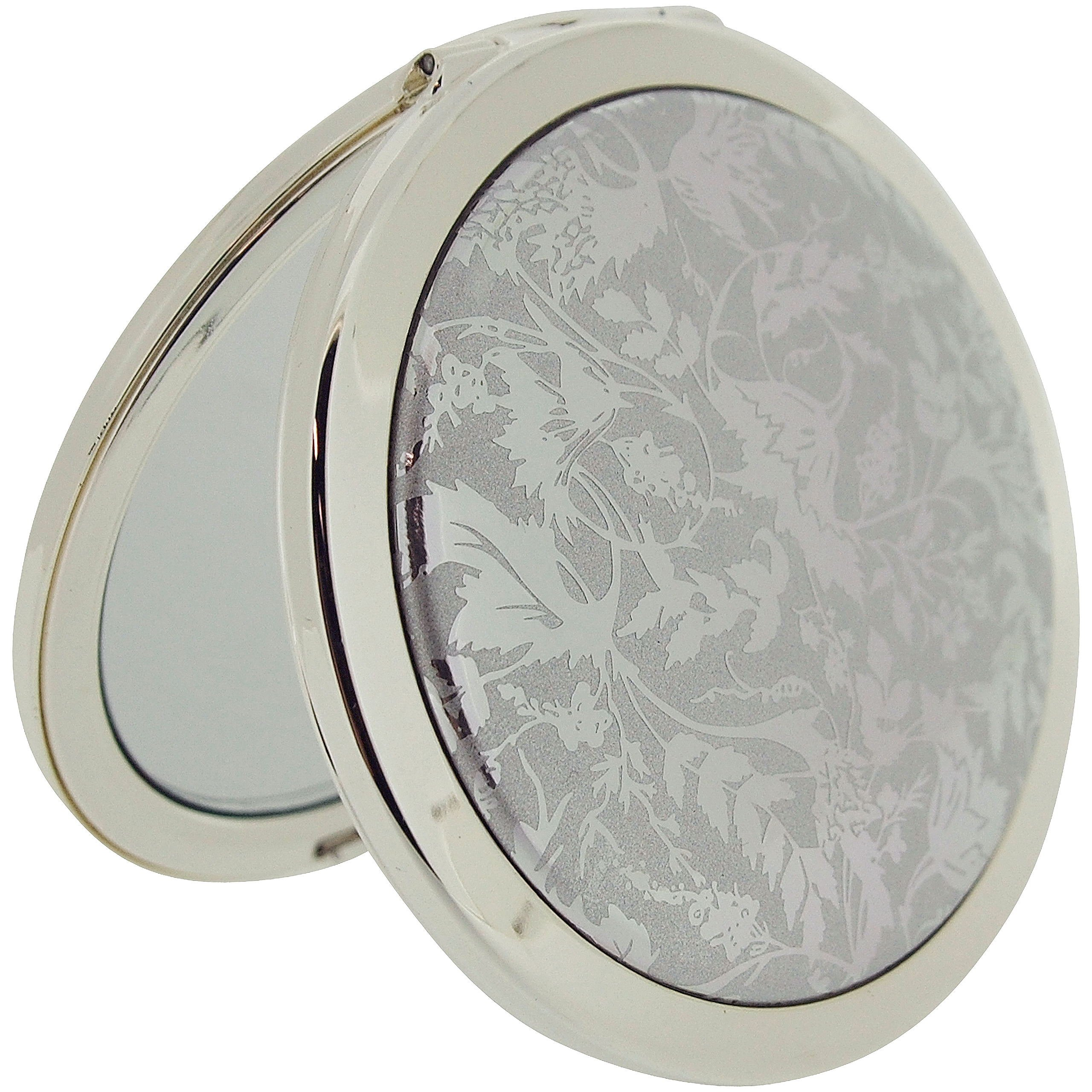 Stratton Compact Mirror Ladies Heritage Collection Double Pocket Mirror 3x Magnification Silvertone Design ST1129