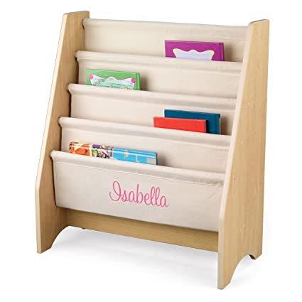 KidKraft Personalized Natural Sling Bookshelf With Pink Script