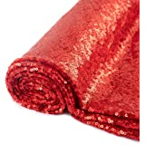 Pardecor Sequin Fabric by The Yard Red 1 Yard Sparkly Fabric Mesh Sequins Fabric for Sewing Clothing and Making…