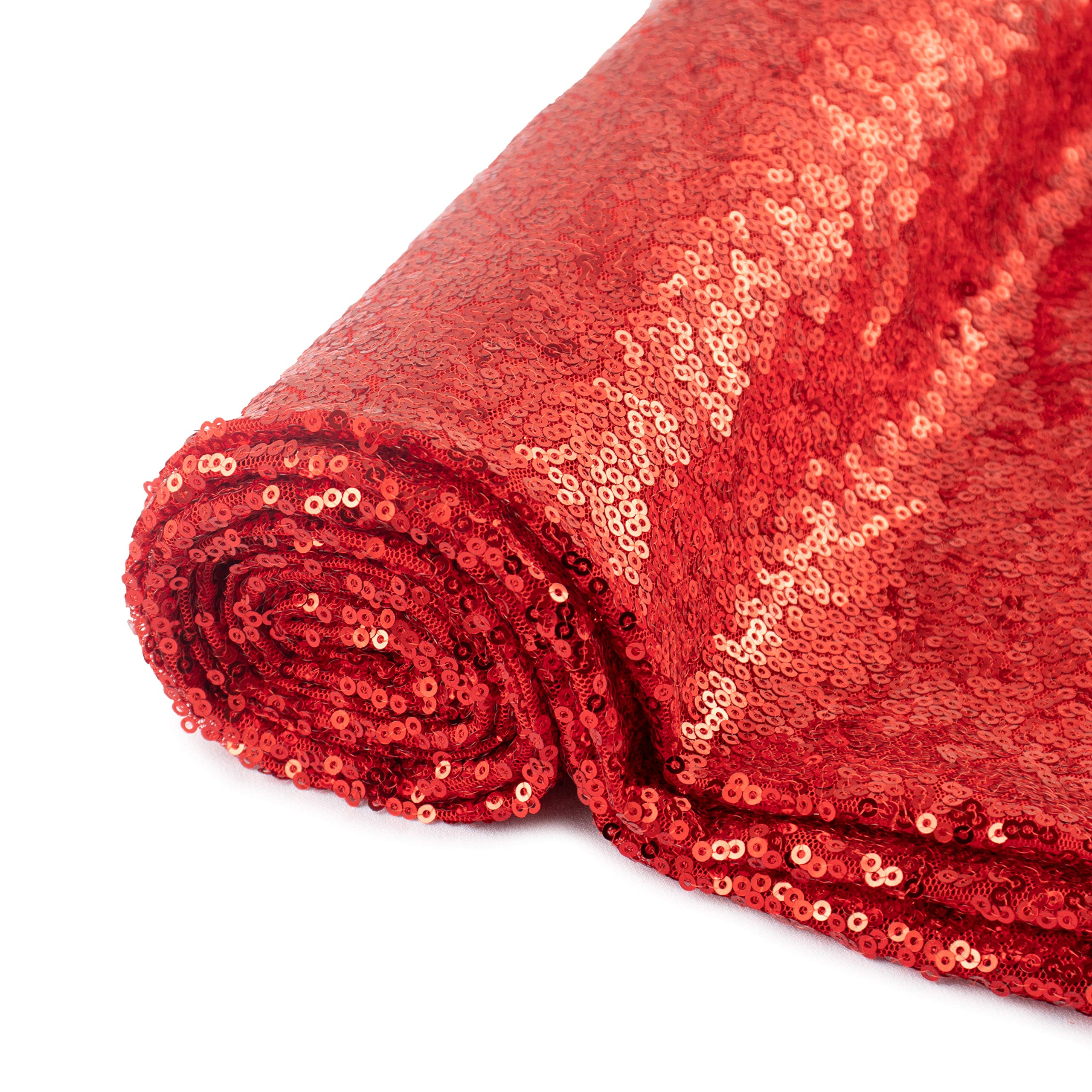 Pardecor Sequin Fabric by The Yard Red 1 Yard Sparkly Fabric Mesh Sequins Fabric for Sewing Clothing and Making Tablecloth Table Runner Wedding Party Decor