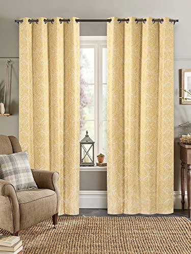 Deco Window Window Curtains – Set of 2 Blackout Linen Curtains Drapes Set 52 X84 Paisley Gold