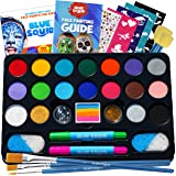 Face Paint Kit for Kids – Blue Squid 22 Colors, 160pcs, Ultimate Face Painting Kit, Stencils, Gems, Hair Chalks, Brushes…