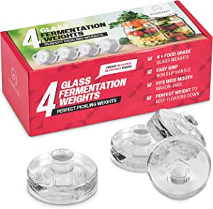 Fermentation Weight – Set of 4 Glass Weights for Small Batch Fermenting – Fits Wide Mouth Mason Jars – Non-Slip Handle that is Easy to Grip – Perfectly Weighted to Keep Food Submerged