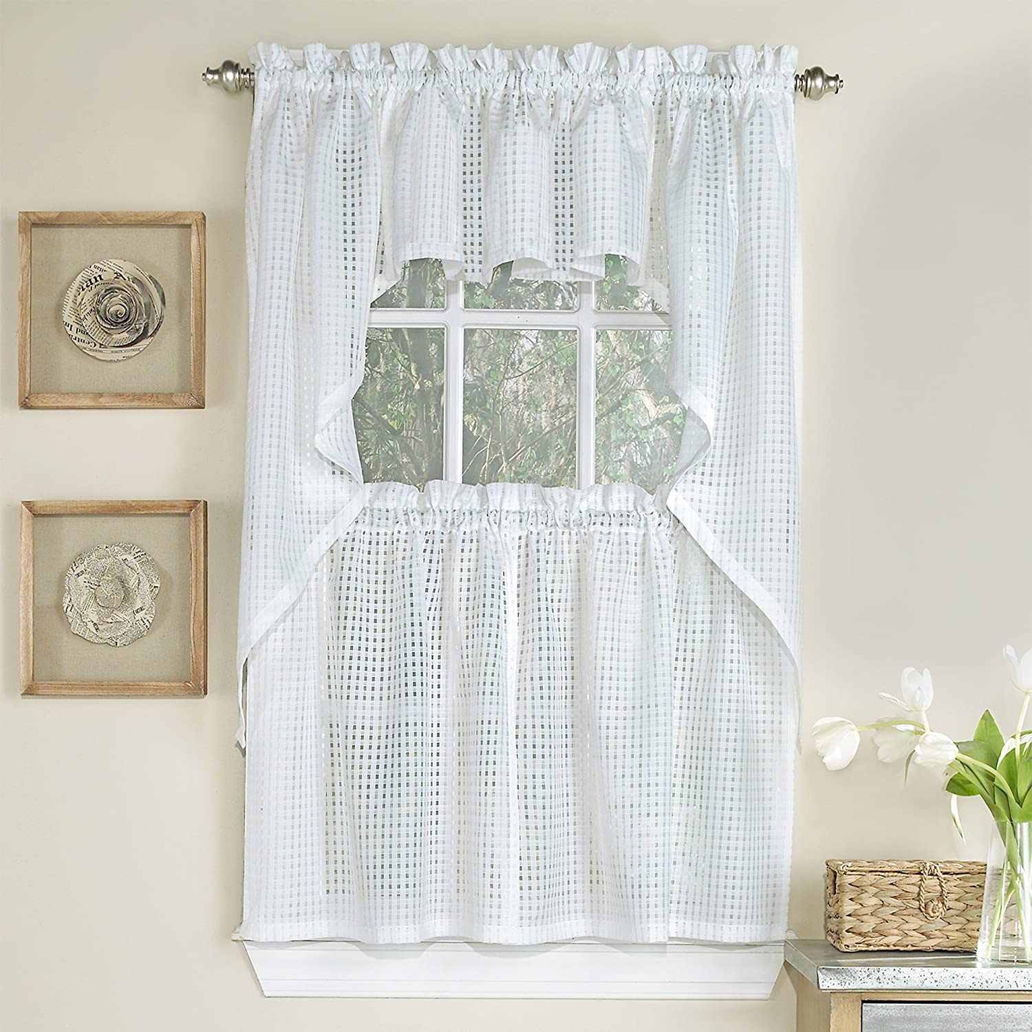 """Sweet Home Collection 5 Pc Kitchen Curtain Set, Swag, Valance Choice of 24"""" or 36"""" Tier Pair Micro/Check White"""