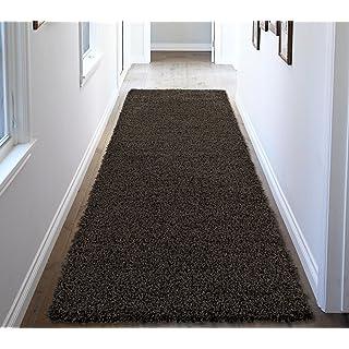 "Ottomanson Soft Cozy Color Solid Shag Runner Rug Contemporary Hallway and Kitchen Shag Runner Rug, Dark Gray, 2'7""L X 8'0""W"