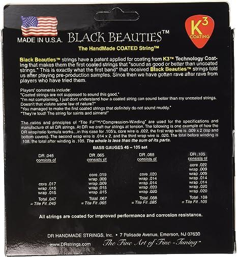 6String Medium 30125 BKB6-30 BLACK BEAUTIES/™ BLACK Colored Bass Strings