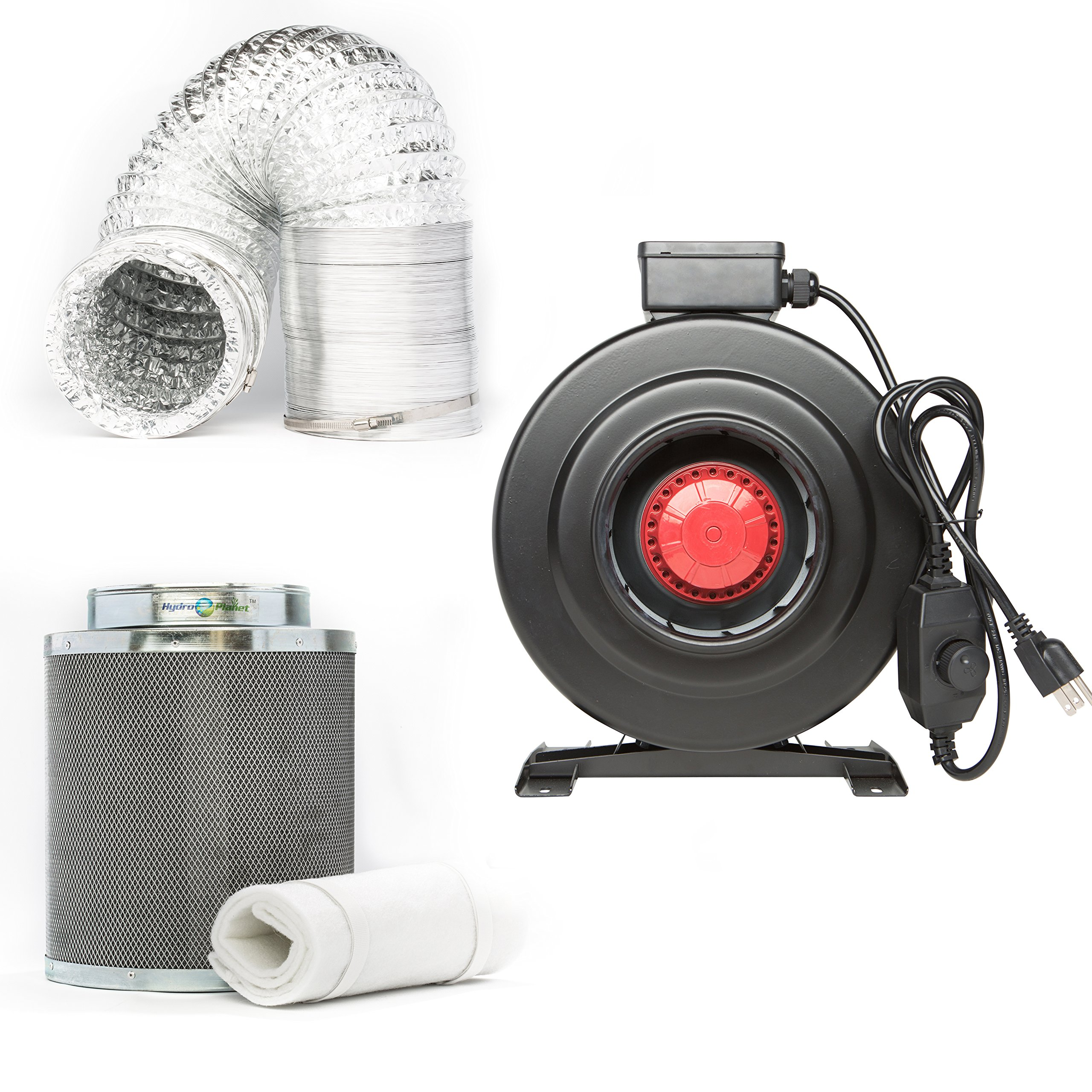 Hydroplanet™ 4-inch CFM 210 Inline Fan built-in speed controller Carbon Air Filter and 25-feet Ducting Combo Kit (4-inch kit)