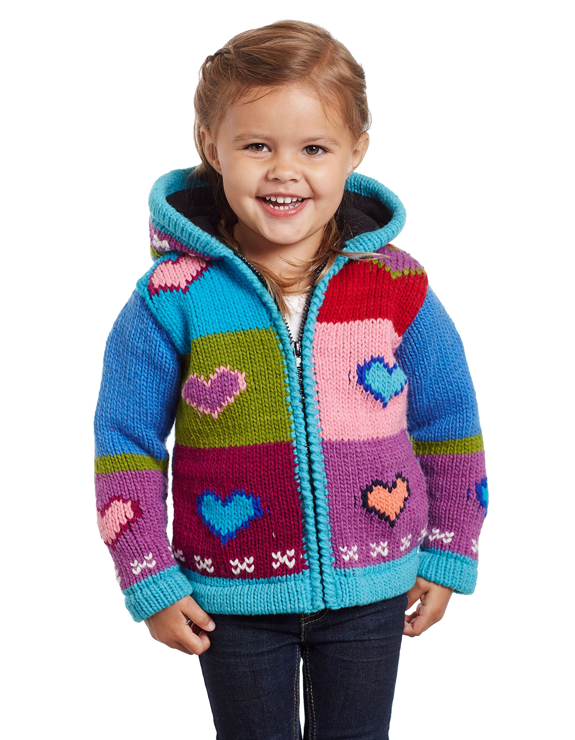 Invisible World 100% Wool Hand Knit Lined Children's Jackets Love 1-2 Year Old
