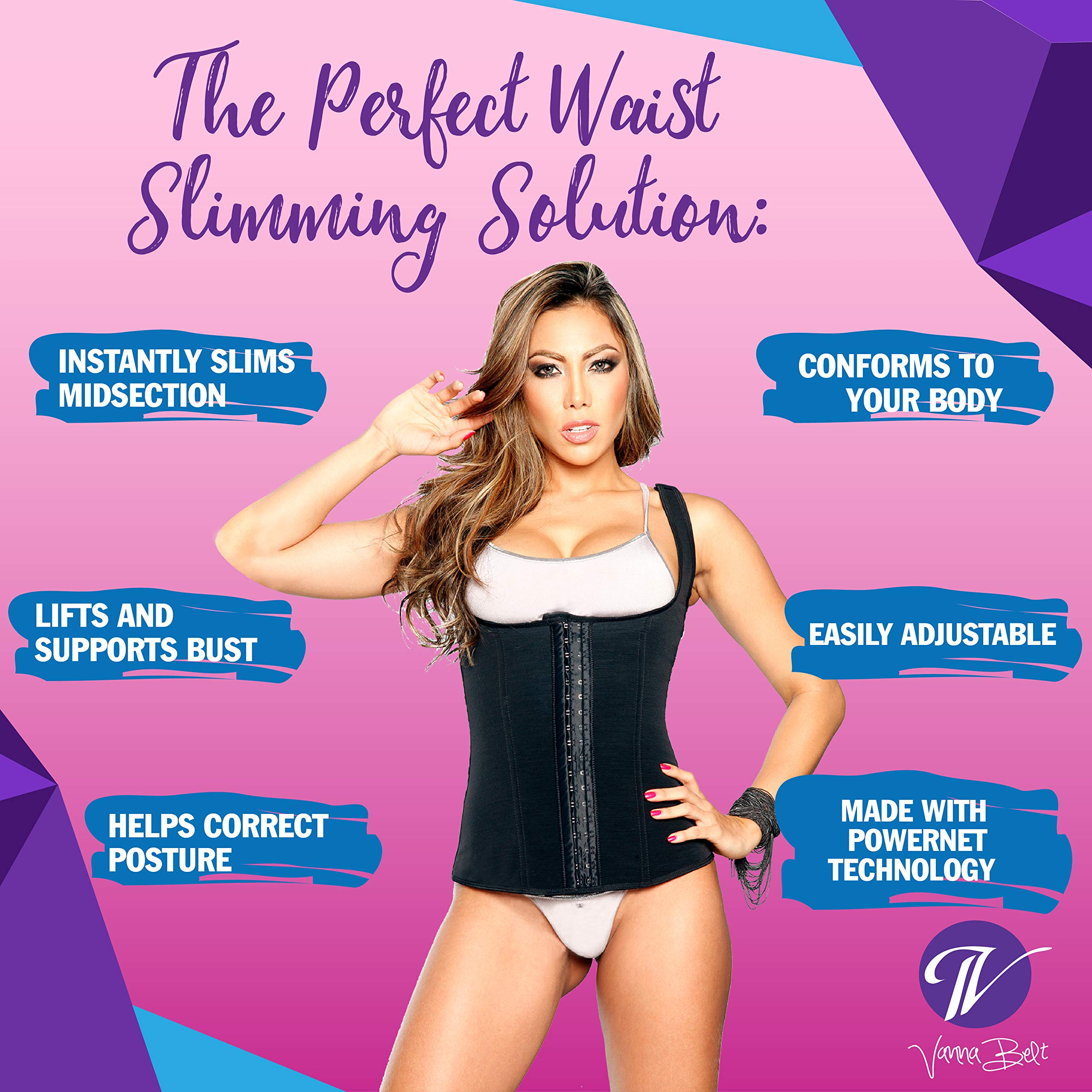 Vanna Belt Waist Trainer V-VEST Waist and Back Trimmer - XXL - Instantly Slims Midsection 2-3 Inches While Wearing Product, Lifts and Supports Busts, Helps Correct Posture by Vanna Belt (Image #4)