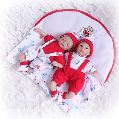 iCradle 8inch20cm Mini Baby Reborn Doll Vinyl Silicone Cotton Body Realistic Looking Baby Eyes Opened Correct Xmas Gift (Twins): Toys & Games