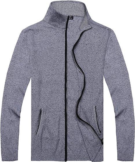 Mens Soft Wool blend Knitted V-neck Cardigan Slim Fit Jacket Coat Long Sleeve