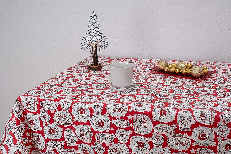 Boheme Christmas Balls Mantel Navidad, ALGODÓN /50% POLIÉSTER, Rojo, 140 X 350: Amazon.es: Hogar