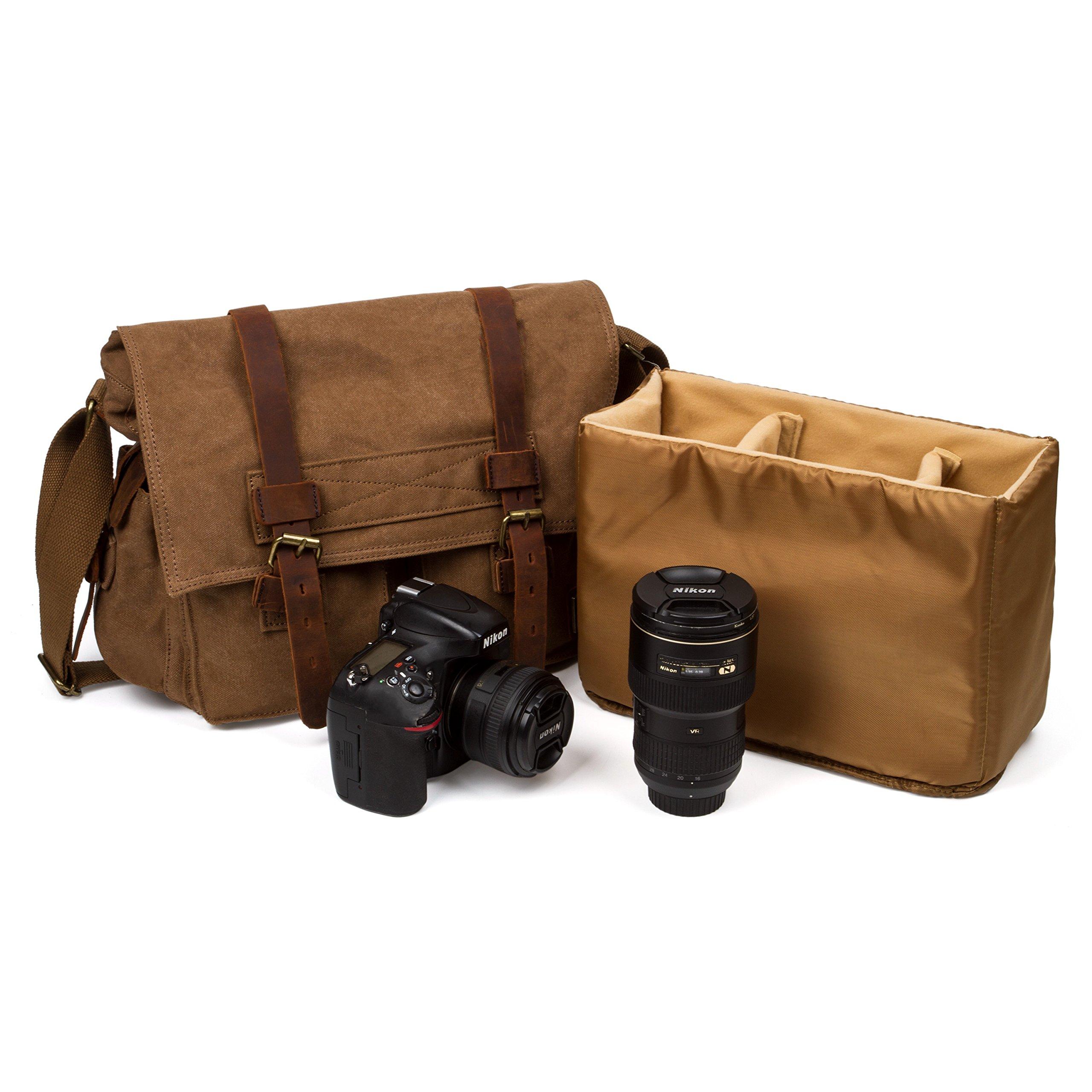 UBORSE Men's Vintage Canvas 15 Inch Laptop Bag Crossbody Single Shoulder DSLR SLR Camera Messenger Briefcase, Brown