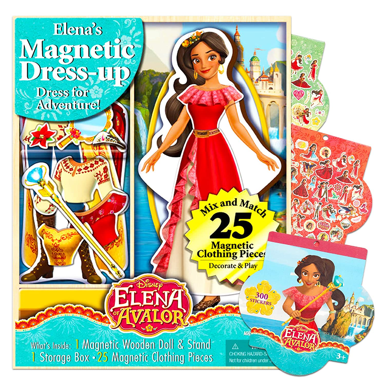 Elena of Avalor Party Supplies Disney Elena of Avalor Magnetic Wooden Doll Dress Up Kit with Magnetic Clothing Pieces and Stickers