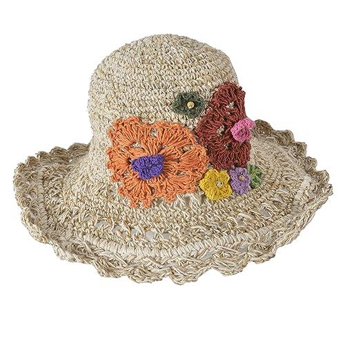 Amplia Borde tricotado verano crocht cáñamo algodón mezcla sombrero con vistoso tricotado flor.