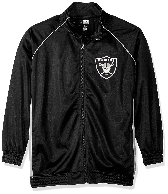 NFLレディースRaidersポリトリコットトラックジャケット B0752V7F2H 3X|ブラック/グレー|Oakland Raiders ブラック/グレー 3X