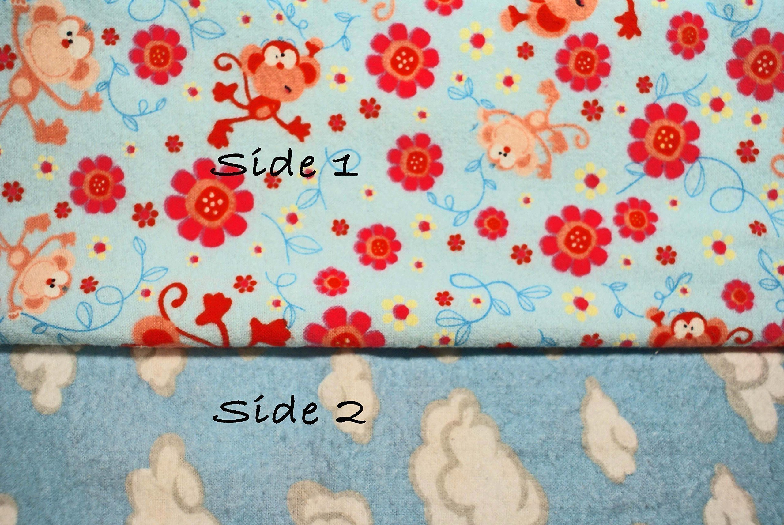 Pocket-2in1-Sheet Monkey and Flowers Pattern with Clouds Flannel 2 in 1 Patented No Slip Reversible Pack n Play Play Yard Fitted Sheet Cover or Day Care Mini Crib Mattress Sheet