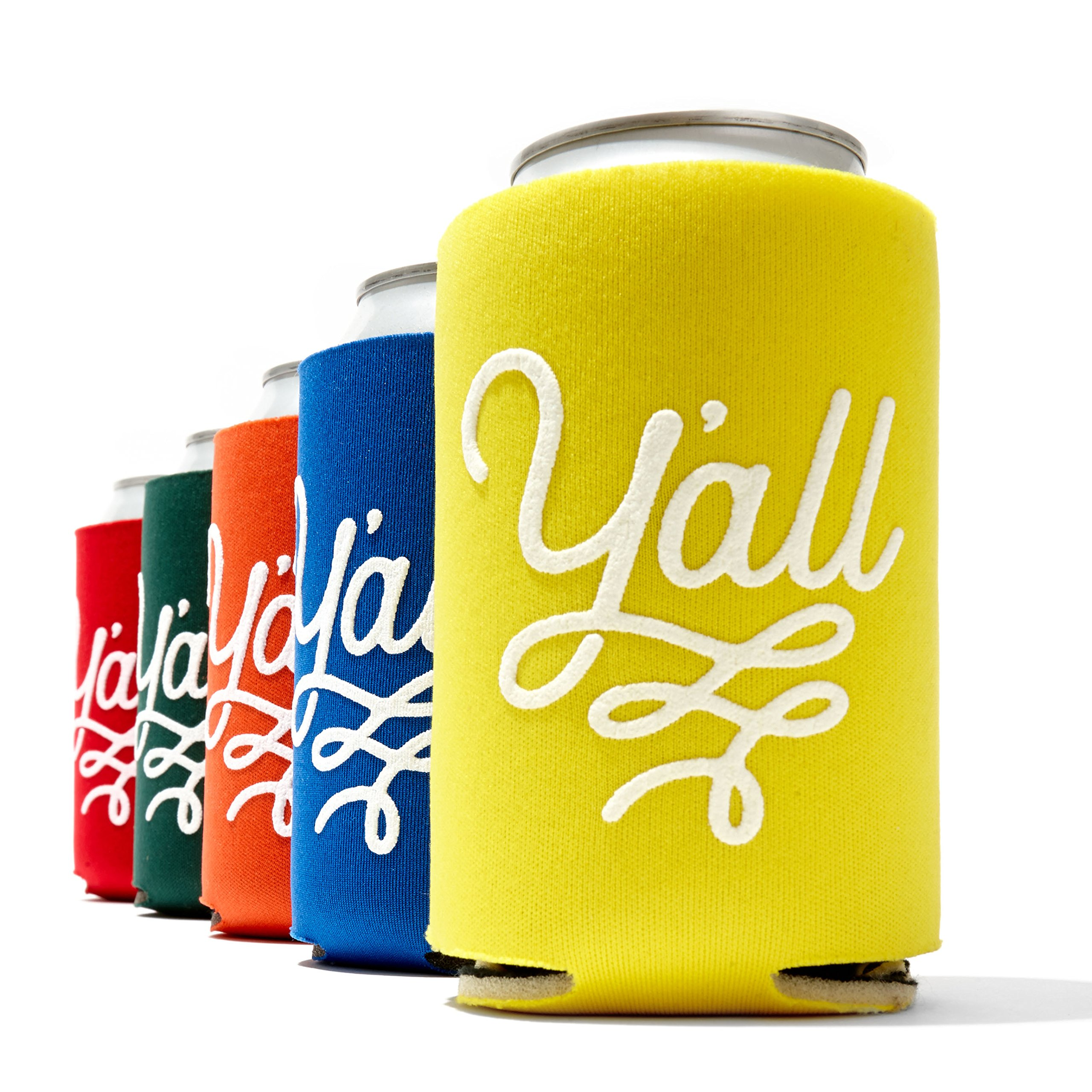 Texas Party Beverage Insulator in Five Colors Can Sleeve Insulator Texas Gift (5 Y'all)