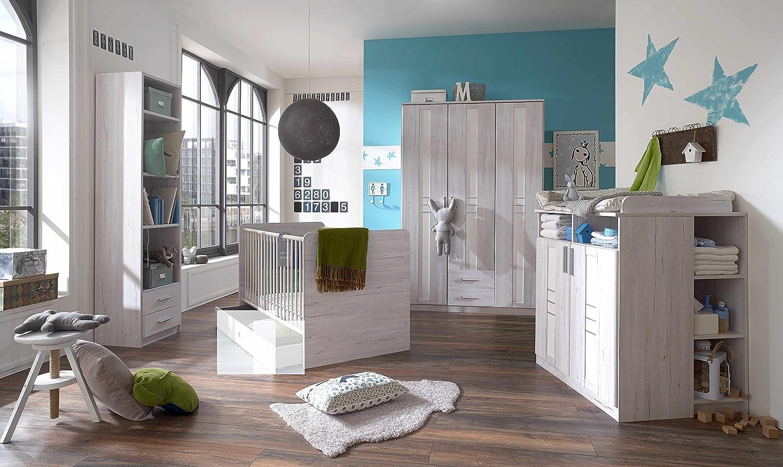 Babyzimmer-Set BORNHOLM 6tlg Komplettset Bett Wickelkommode Gr. Schrank Regal Weisseiche Nachbildung / Icy White
