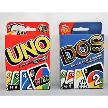 Mattel Uno Card Game Bundled with Dos Card Game, Multicolor