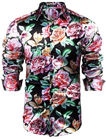 ac56f75878c COOFANDY Mens Hipster Floral Button Down Shirt Glossy Hip Hop Shirts  Nightclub Wear