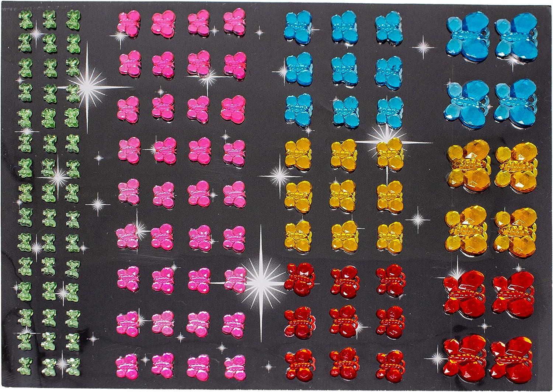 Set mit 720 St/ück Bunte Schmucksteine zum Basteln Glitzersteine in verschiedenen Gr/ö/ßen und Formen zum Aufkleben Aribari Selbstklebende glitzernde Strasssteine