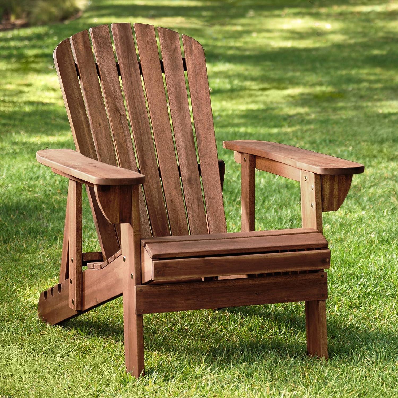 Teal Island Designs Fletcher Dark Wood Outdoor Reclining Adirondack Chair