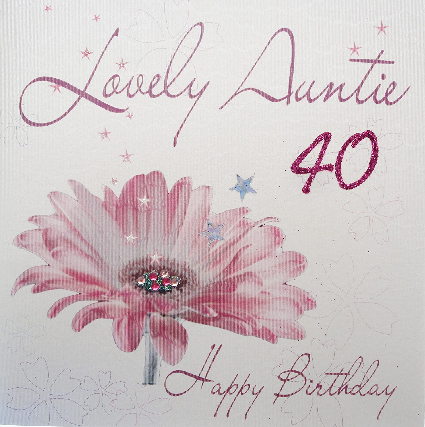 white cotton cards WB8840 Pink Gerbra Lovely Auntie 40 Happy – Happy 40th Birthday Card