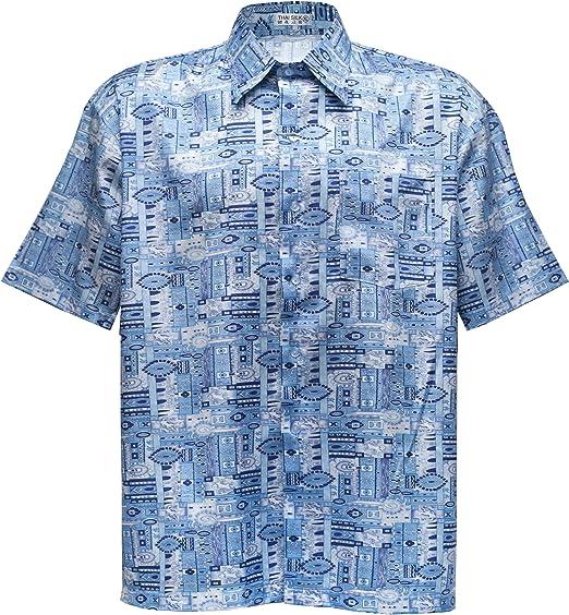 Camisa para hombre de manga corta, de seda tailandesa, con diseño de cachemira azul cielo, azul celeste, X-Large: Amazon.es: Hogar