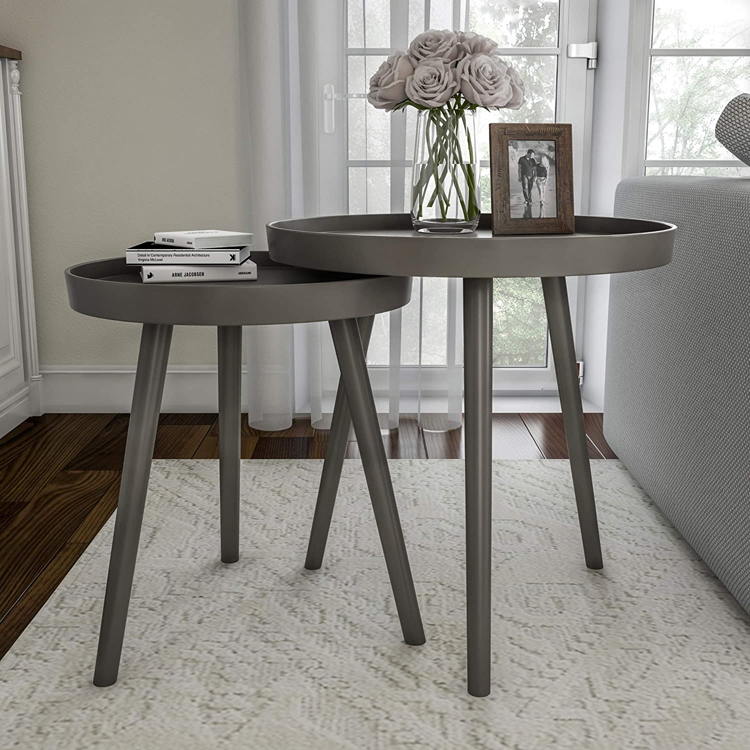 Lavish Home Nesting End Set of 2 Round Mid-Century Modern Accent Table, Gray