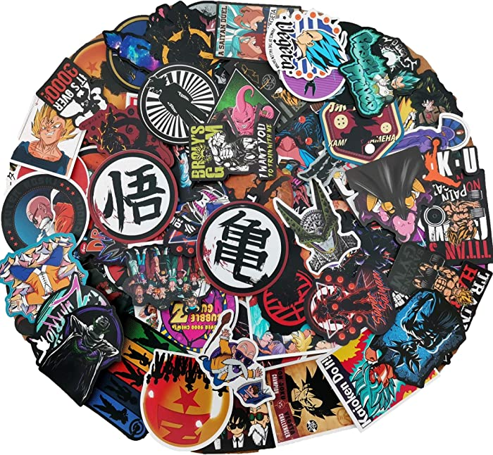 Dragon Ball Cool Vinyl Sticker 100PCs Love Laptop DBZ Stickers Kid Adult Children Decal Film Skateboard Guitar Case Car Bike Stumper Luggage Door Decoration for iPhone Mac Book Huawei Bottle
