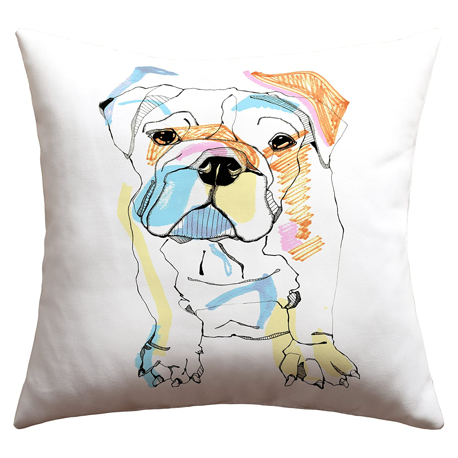 DENY Designs Casey Rogers Bulldog Color Outdoor Throw Pillow, 16-Inch by 16-Inch 13966-othrp16