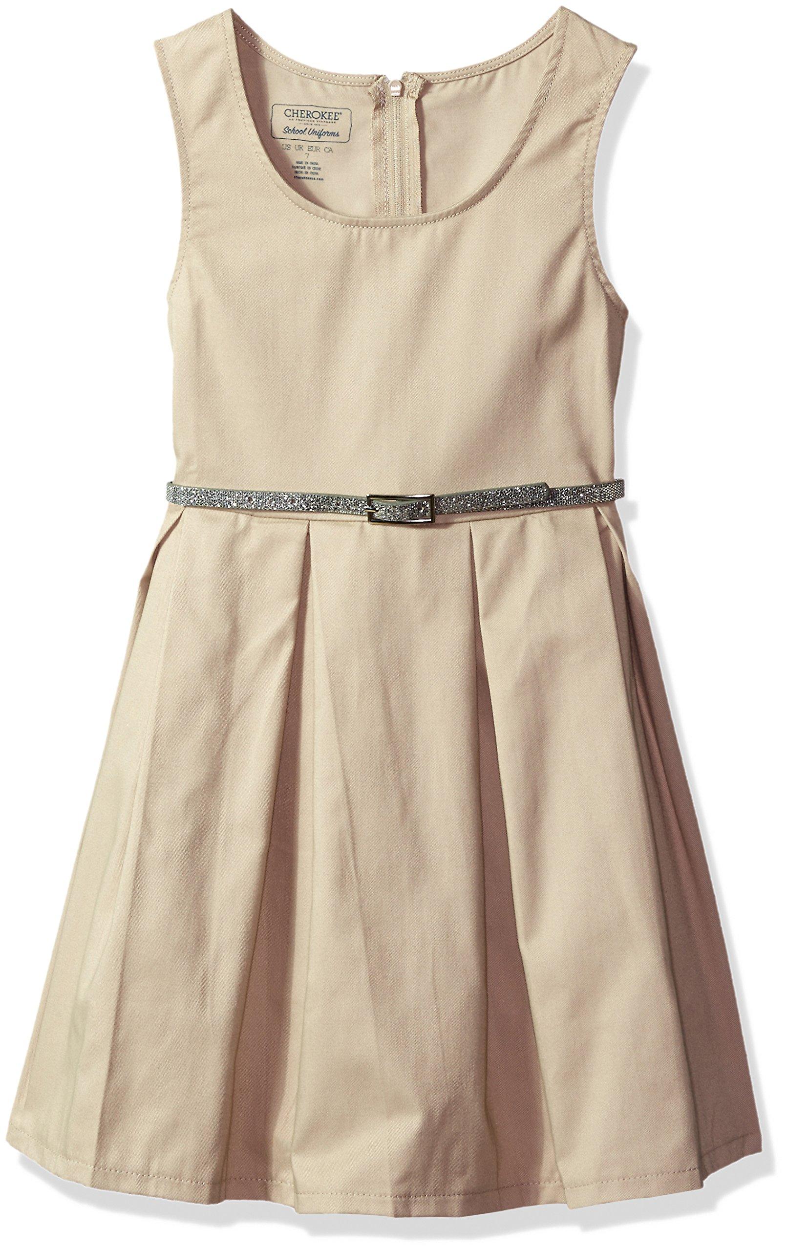 Cherokee Little Girls' Uniform Jumper, Belted Khaki, 5