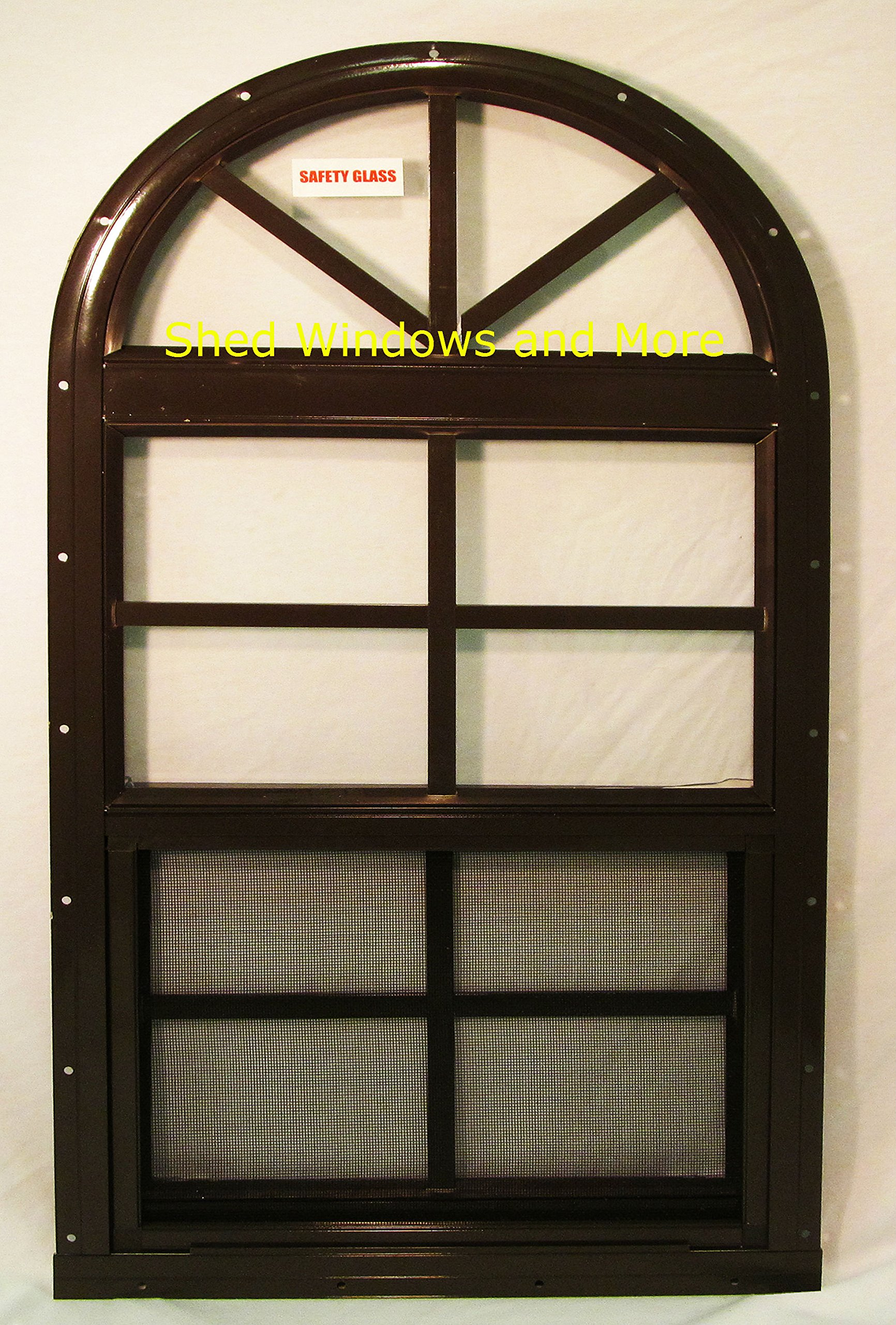 Arched Shed Playhouse Windows 14 X 28 Brown, Safety Glass Aluminum Frame by Shed Windows and More (Image #1)