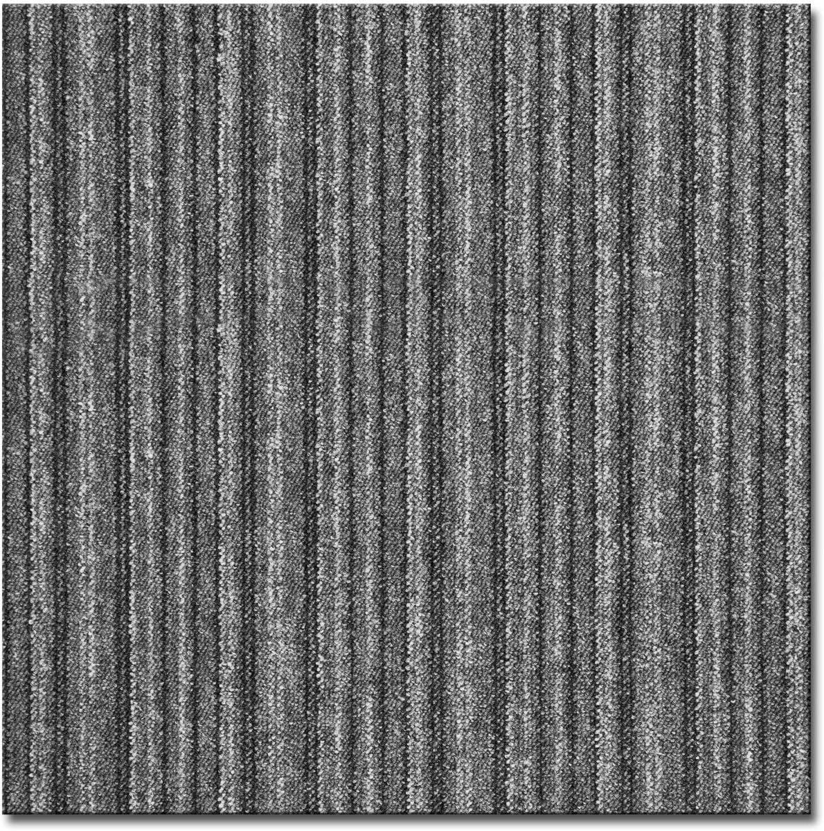casa pura Teppichfliesen Vienna selbstliegend je 50x50 cm hochwertiger Bitumen R/ücken anthrazit gestreift - 4 St/ück = 1qm strapazierf/ähiger Bodenbelag f/ür B/üro und Gewerbe