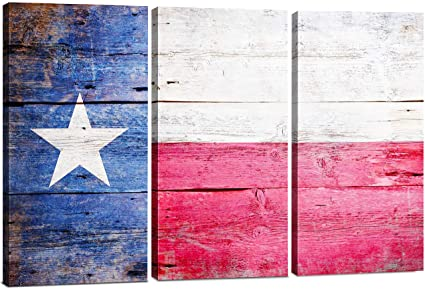 Texas Flag Canvas Wall Art Decor 3 Piece Set 24x36 Inch Large Decorative Multi Panel Split Prints Rustic Wood Look For Dining Living Room