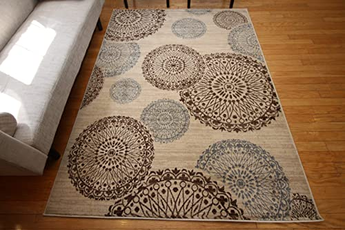 Feraghan New City Contemporary Modern Flowers Wool Area Rug, 4 Round, Brown Beige