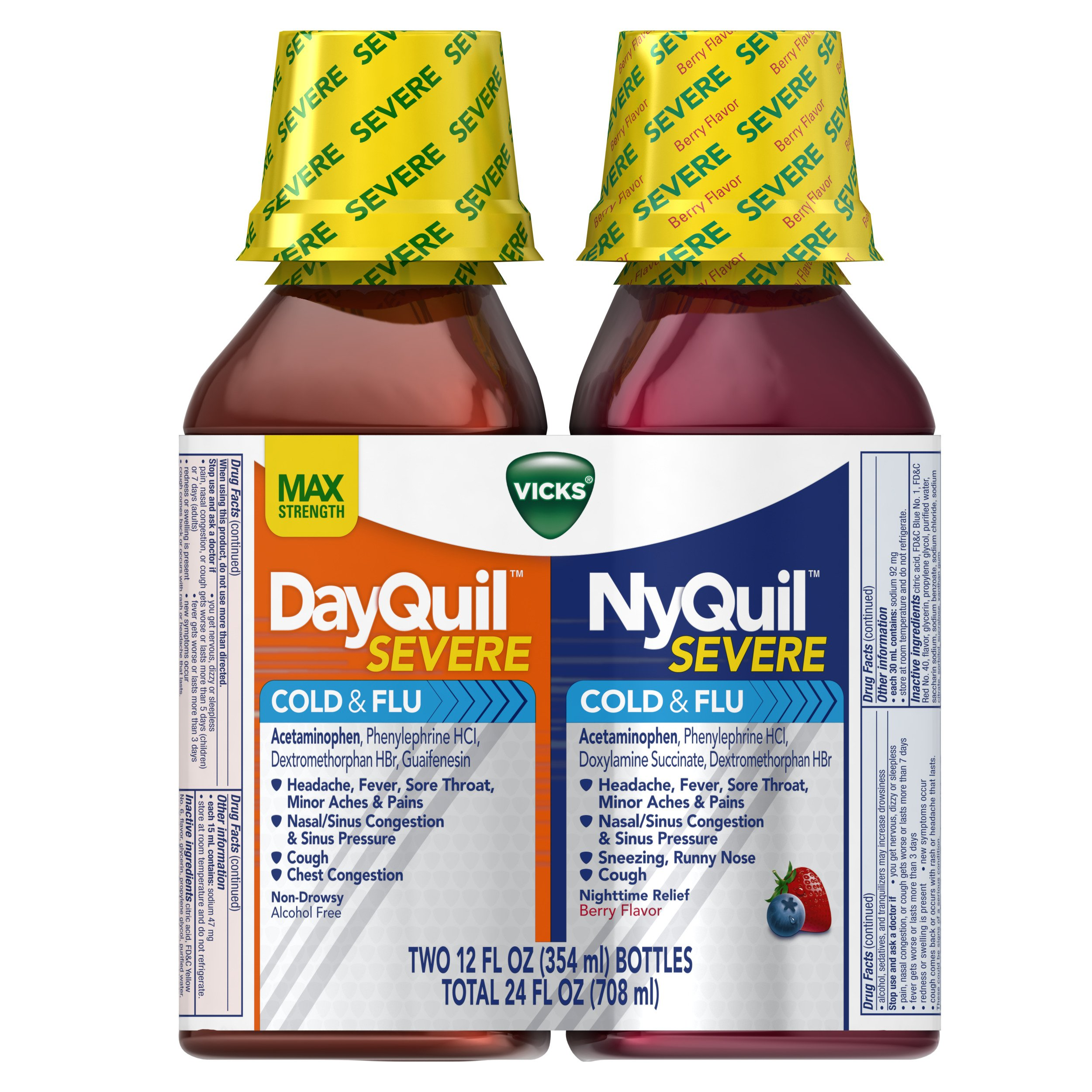 Vicks NyQuil and DayQuil SEVERE Cough, Cold & Flu Relief Liquid, 2x12 Fl Oz Combo, Relieves Sore Throat, Fever, and Congestion, Day or Night by Vicks