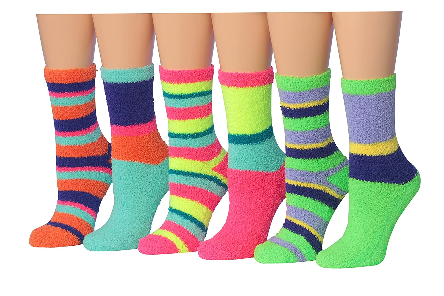 Tipi Toe Women's 6-Pairs Patterned & Solid Anti-Skid Soft Fuzzy Crew Socks FZ14-6