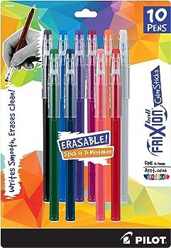 10-Pack Pilot FriXion Color Sticks Erasable Gel Pens