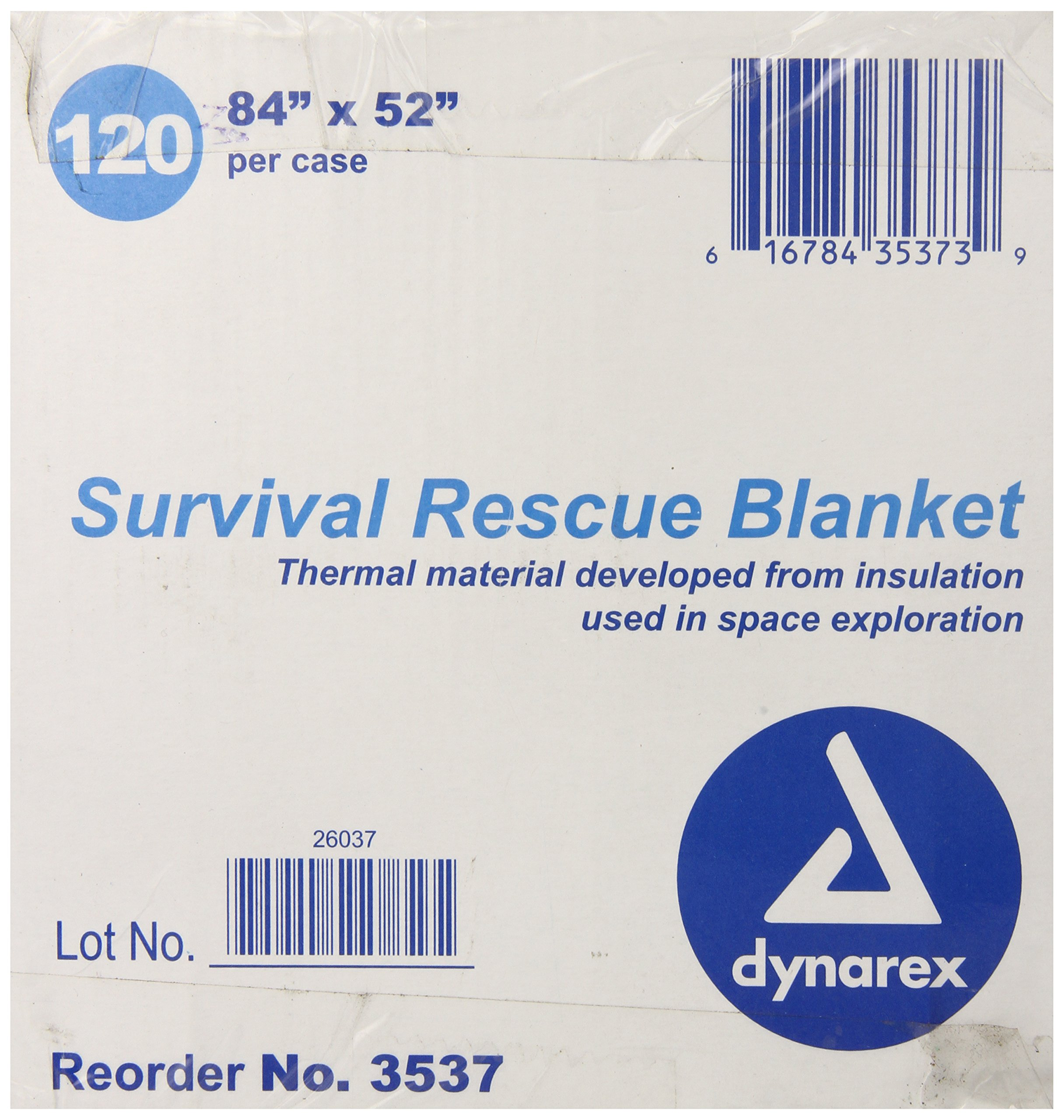 Dynarex Survival Rescue Blanket, 120 Count, 84 Inch x 52 Inch, (Pack of 120) by Dynarex (Image #1)